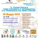 """Cultura. Lunedì 28 maggio ad Aragona il Festival della solidarietà itinerante """"Teatralmente"""""""
