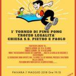 Favara. Festa della Legalità. Lunedì 7 maggio si ricorderà Stefano Pompeo nel Primo torneo di Ping Pong Trofeo Legalità.
