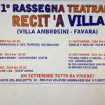 """Favara. Dal 25 agosto al 30 settembre, la Prima rassegna teatrale """"Recit'A Villa"""" alla Villa Ambrosini"""