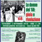"""Cultura. Venerdì 5 ottobre a Racalmuto il convegno """"Le donne del '68: gioia e rivoluzione"""""""