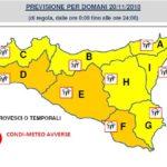 Avviso di allerta meteo di livello arancione in provincia di Agrigento martedì 20 novembre 2018