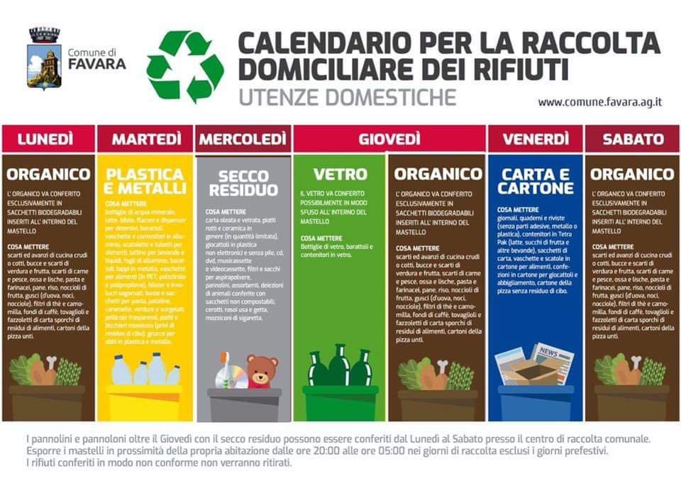 Calendario Raccolta.Favara Cambia Il Calendario Della Raccolta Differenziata