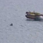 Canadair sfiora gommone durante carico acqua in mare