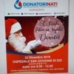 """Agrigento. Domenica 22 dicembre presso l'ospedale S. Giovanni di Dio, """"A Natale fatevi un regalo: Donate"""" promosso dall'associazione Donatorinati Onlus"""