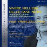 Cultura. Sambuca di Sicilia. Oggi pomeriggio, una conferenza del professore  Francesco Pira sulle fake news e la vita social