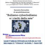 """Favara. Lunedì 17 febbraio """"Bullismo, cyberbullismo e rischi della rete"""". Conferenza del sociologo Francesco Pira all'Istituto Brancati"""