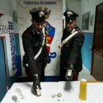 Ribera: i Carabinieri della locale Tenenza arrestano in flagranza di reato un 22enne riberese per detenzione ai fini di spaccio.