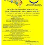 """Cultura. Il 3 ottobre a Palermo il primo evento """"LE PA SOCIAL HANNO UNA MARCIA IN PIU'. USO E DIFFUSIONE DEI SOCIAL MEDIA PUBBLICI"""""""