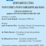 """Agrigento. Giovedì 20 febbraio il seminario """"Nuovi codici e nuova narrazione della mafia"""" organizzato dall'ANDE"""