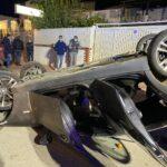 Villaggio Mose, incidente autonomo in viale Leonardo Sciascia: auto si ribalta