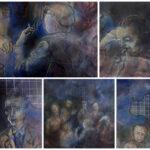 """Il dipinto di Guadagnuolo: """"Il Simposio di Scrittori siciliani della Strada Statale 640"""", nel centenario della nascita di Leonardo Sciascia"""