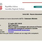 Interrogazione dell'On. Michele Catanzaro ( PD) al Presidente Musumeci sulla gravissima situazione igienico sanitaria della città di Favara